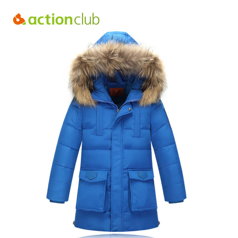 Actionclub Children Winter Jacket Duck Down Longer Thicker Boys Girls Coat Kids Winter Down Jacket Warm Hooded Clothes Outerwear kindstraum 2017 super warm winter boys down coat hooded fur collar kids brand casual jacket duck down children outwear mc855