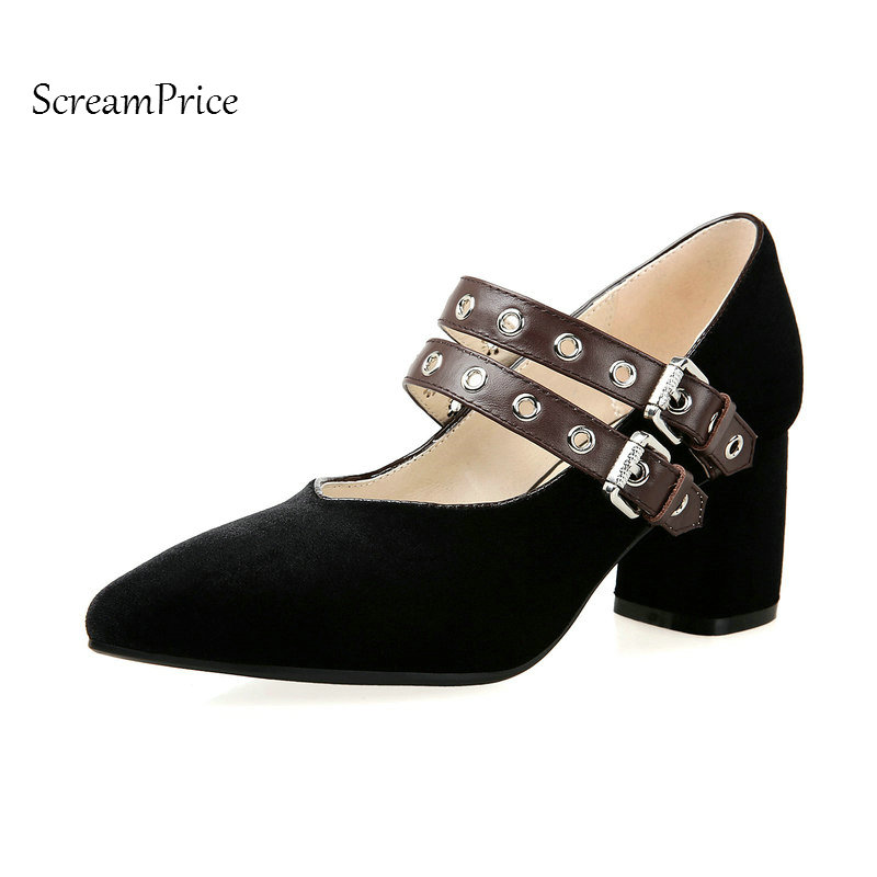 Faux Suede Comfort Thick High Heel Pointed Toe Woman Pumps Fashion Buckle Dress High Heel Shoes Genuine Leather Insole Black цена