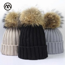Winter Brand Female Ball Cap Pom Poms Winter Hat For Women Girl 'S Hat Knitted Beanies Cap Hat Thick Women Skullies Beanies cute girls hat ear cap autumn winter beanies hat for women pom poms hat candy colors knitted wool casual cap thick warm hat