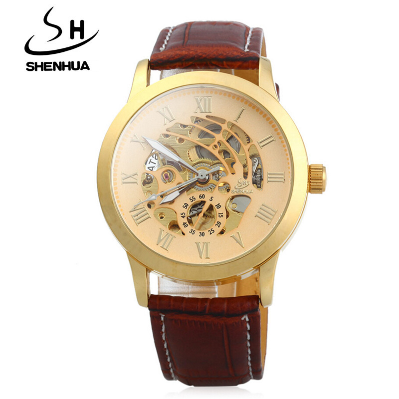 Fashion Brand Shenhua Watch Men Leather Band Automatic Mechanical Skeleton Watches Men Luxury Gold Wristwatch Relogio Masculino mce luxury brand skeleton square mechanical watches leather gold automatic watch men waterproof casual wristwatch reloj hombre