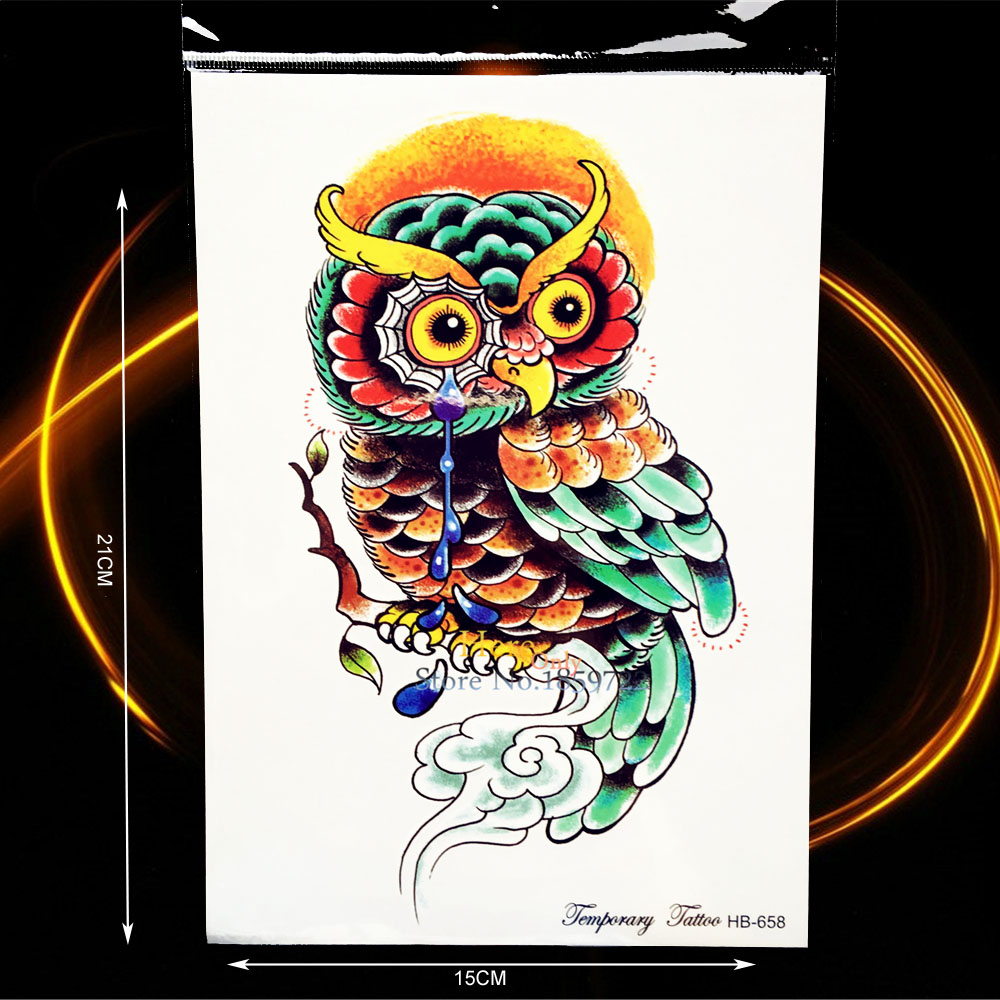 1PC Lovely Owl Tattoo Waterproof Arm Decals Cry Owl Tears Branch Design Men Women Body Leg Art Temporary Tattoo Stickers HHB658