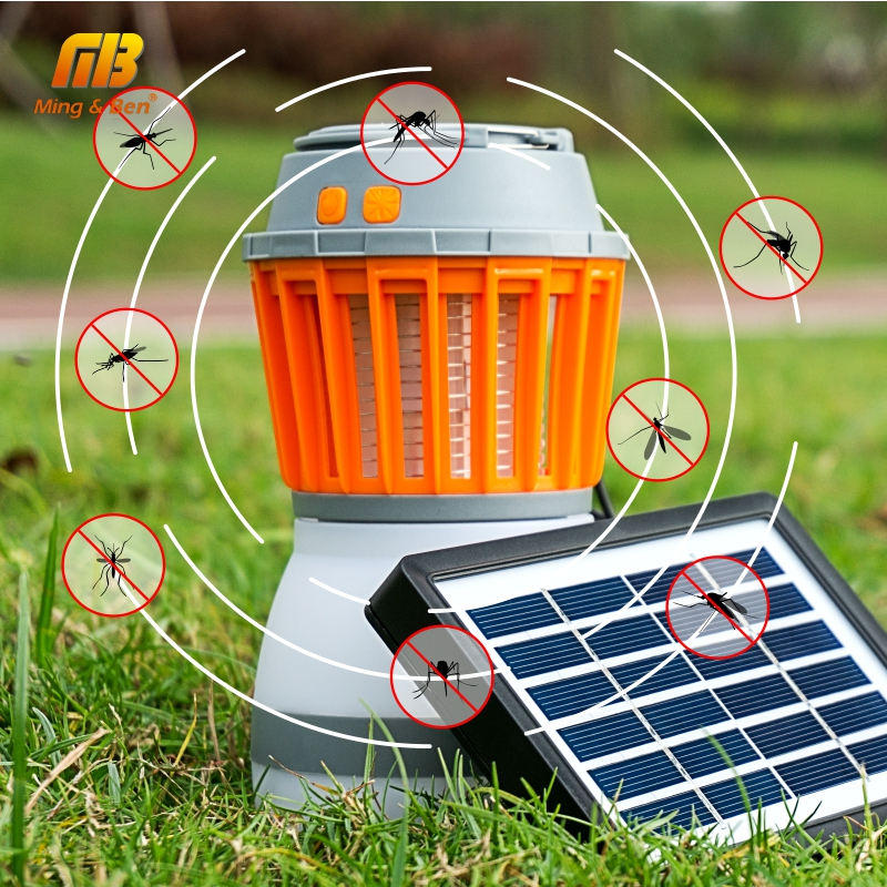 LED Mosquito Killer Lamp With Solar Panel USB Charging LED UV Light Pest Insect Electronic Repellent Portable LED Camping Light otomatik çadır