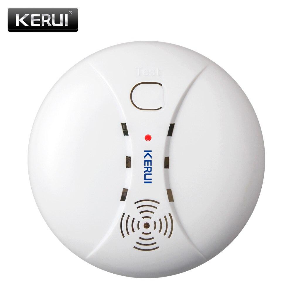Detector de humo de protección contra incendios inalámbrico KERUI sensores de alarma portátiles para el sistema de alarma de seguridad del hogar en nuestra tienda