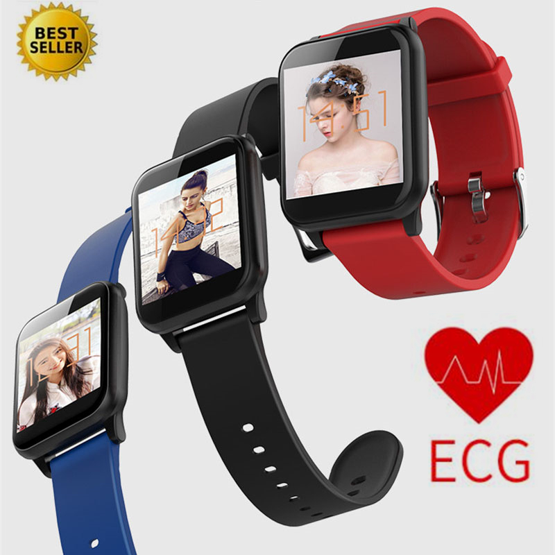 ECG PPG Smart Watch Heart Rate Blood Pressure Monitor Smartwatch Pedometer Call Reminder Sport Watch For IOS Android Saatler
