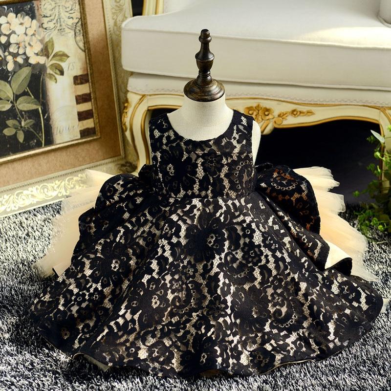 Black Lace Flower Girl Dresses Big Bowknot Princess Evening Dress Ball Gown Kids Pageant Dress Birthday