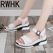 RWHK Roman sandals female 2019 summer new Korean version of the wedge with womens shoes magic paste  muffin bottom B436