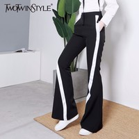 TWOTWINSTYLE 2017 Long Leggings Trousers For Women Black High Waist Female Flare Pants Fall Plus Size