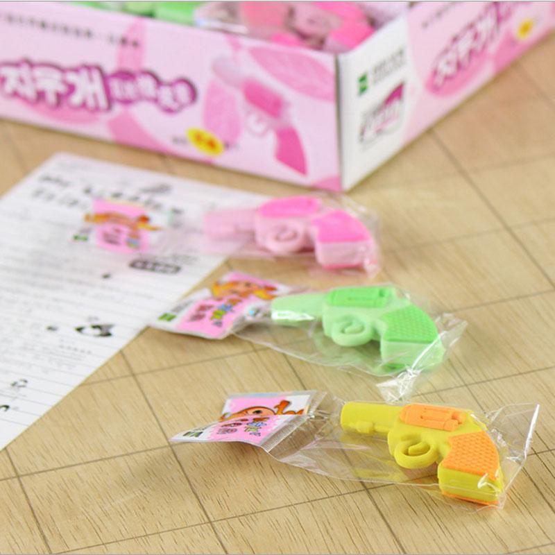 Купить с кэшбэком 1pcs cute Cartoon pistol creative eraser rubber erase school office supplies Student Learn supplies papelaria kawaii kids gift