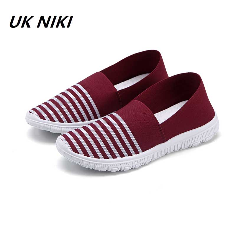 UKNIKI Brand Shoes Women Fashion Spring Slip-On Stretch Fabric Shoes Female Casual Striped Flats Lady Soft Comfortable Shoes eiswelt women flats shoes comfortable flat air mesh spring summer shoes female casual fashion slip on shoes for women flats