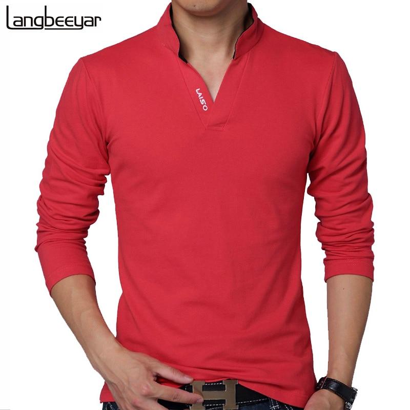 2015 Nueva ropa de marca de moda para hombre. Camiseta de color sólido, manga largo, esbelta, queda bien. Camiseta de hombre 100% algodón. Camisetas de primavera, informales.