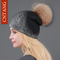 2016 New Winter Beanies Ladies Knitted Wool Warm Hats Fashion Pom Pon Real Raccoon Fur Caps Skullies Hat For Women Print Fur Cap