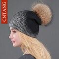 2016 Novas Senhoras De Malha De Lã Gorros de Inverno Quente Chapéus Moda Pom Pon Real Raccoon Fur Caps Skullies Chapéu de Impressão Para As Mulheres De Pele Cap