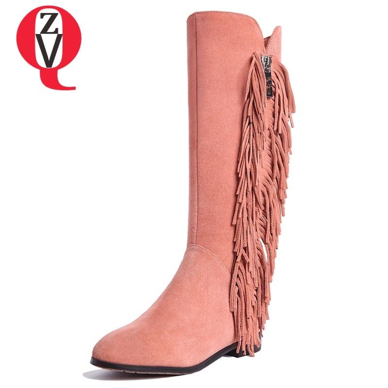 ZVQ сапоги до колена специальный ретро с круглым носком удобные модные повседневные Боковая молния кисточкой женские зимние необходимо сапо... ...