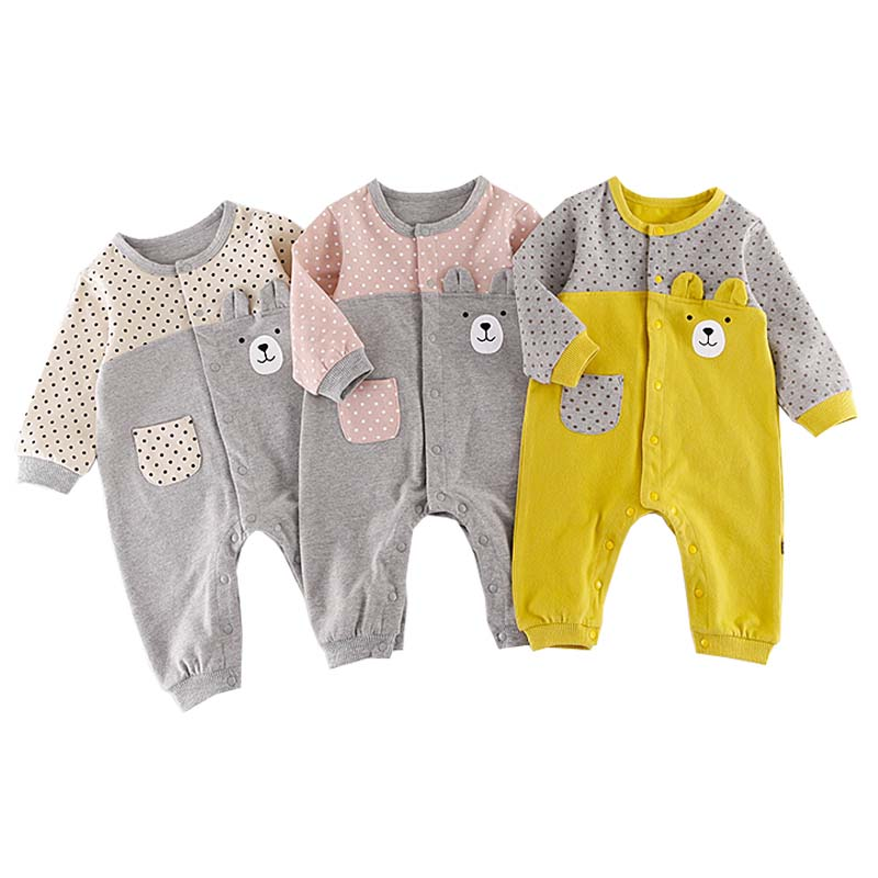 Recém 2018 Primavera Macacão de Bebê Urso Bonito Da Criança Macacão Meninos Meninas Roupas Roupas Playsuit Outfits Roupas De Bebes De Menina