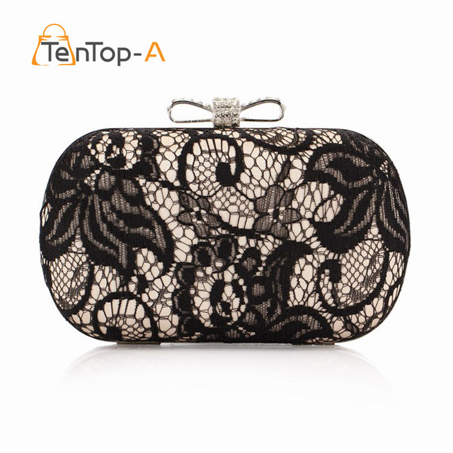 64926330b4ae 2018 Good Hollow Lace Clutch Bags New Black Lace Satin Evening Hand Bag High -Grade Silk Bow Party Exquisite Day Clutches YGH3013