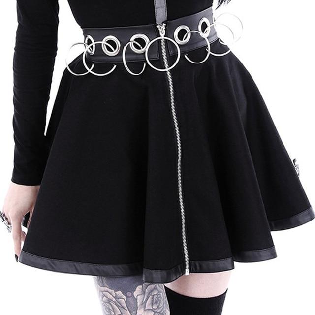 InstaHot Gothic Punk Zip Up Black Skirts Women Autumn Ring High Waist Pleated Winter Mini Skirt Female Bottom Sexy Christmas 4