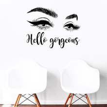High Quality Eyelashes Eye Wall Decal Makeup Stickers Beauty Salon Interior Decor Girls  Brow Bar DIY ZW498