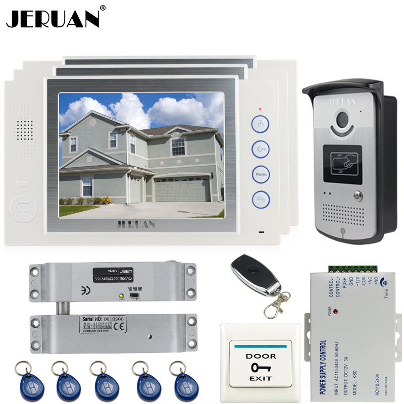 цены JERUAN 8`` video door phone Record intercom system kit 3 house Aluminum panel 700TVL RFID Access Camera 8GB SD card In stock