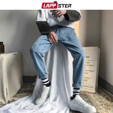 LAPPSTER erkekler kore moda Skinny Jeans pantolon 2020 yaz Streetwaer Hip Hop sıska Denim kot erkek düz mavi pantolon