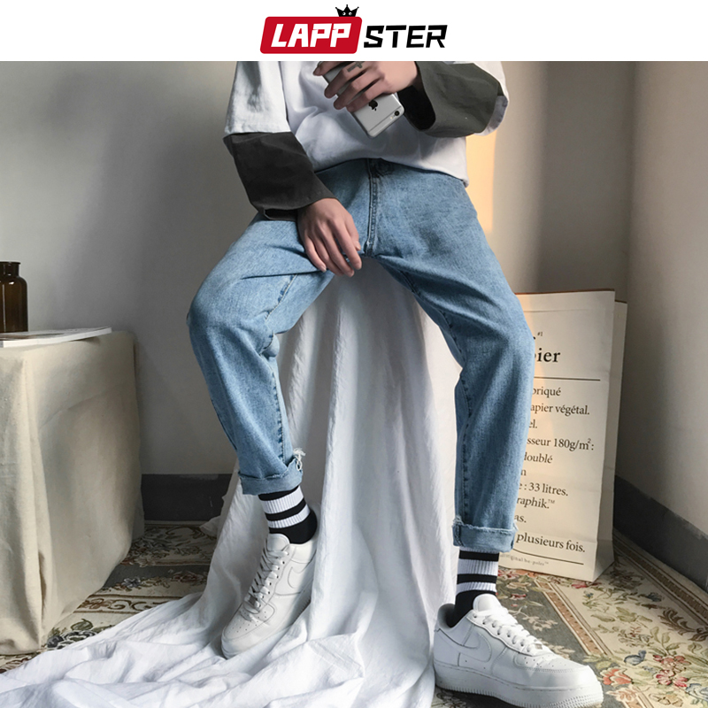 LAPPSTER Men Korean Fashions Skinny Jeans Pants 2020 Summer Streetwaer Hip Hop Skinny Denim Jeans Mens Straight Blue Trousers
