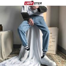 Lappster moda coreana dos homens calças de brim magros 2020 verão streetwaer hip hop denim magro calças de brim dos homens em linha reta azul