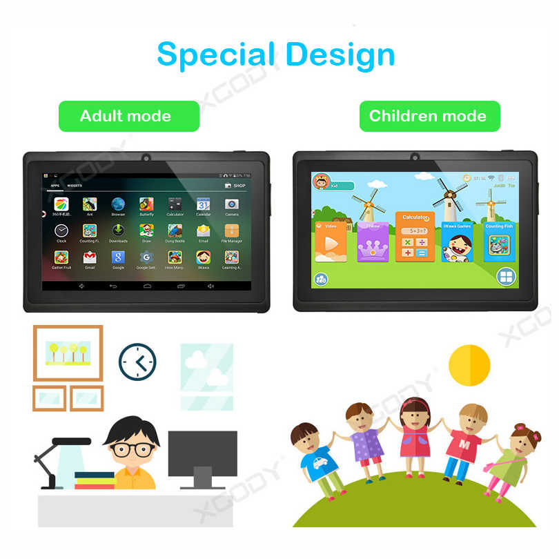XGODY 7 inch Kids Tablet PC Android 8.1 1GB 8GB HD Screen Tablet With Stand Silicone Case Cover Protector For Adult Children