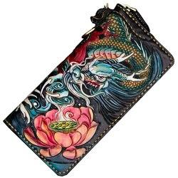 Женские кошельки ручной работы с рисунком рыбы Лоонг, визитница, кошельки для мужчин, длинный клатч из кожи растительного дубления, подарок ...