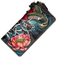 Handmade carving Fish Loong Women Wallets Card Holder Purses Men Long Clutch Vegetable Tanned Leather New Year Gift