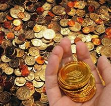 Plastic gold Pirate coins birthday Christmas holiday favor treasure coin goody party loot bag pinata filler toy theme decor
