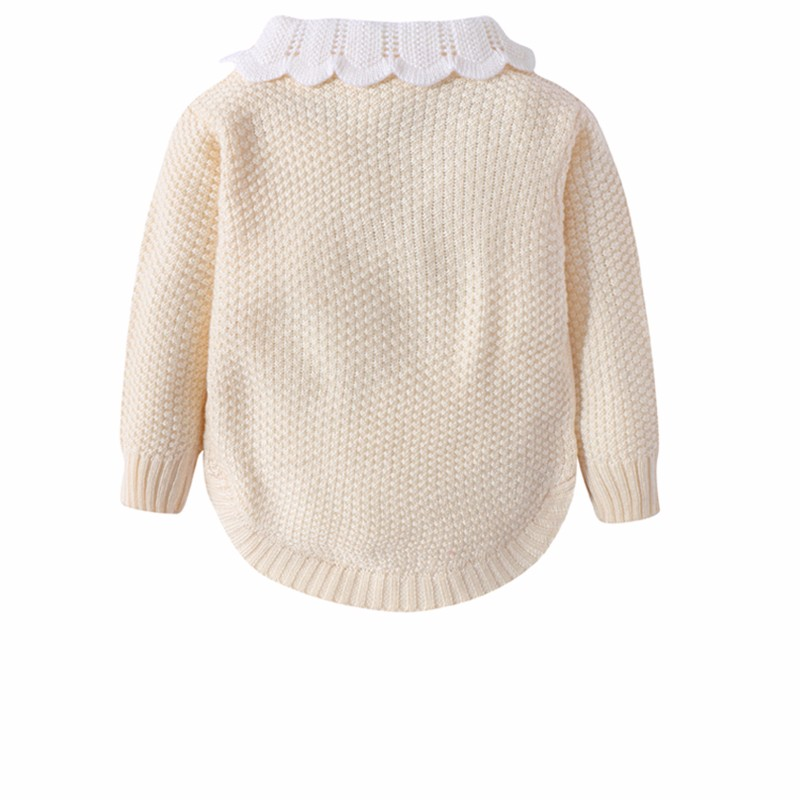Cotton Girls Sweaters Solid Long Sleeve Clothes Knit Pullover Outerwear With Bows Warm Children Top Autumn Winter Kids Sweater (5)