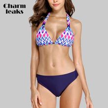 Charmleaks Women Low Waist Bikini Sets Bandaged Wave Printed Swimwear Sexy Swimsuit Bathingsuit