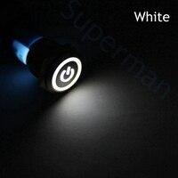 16mm Metal Brass Push Button Switch Power Mark Flat Round Illumination Ring Latching 1NO 1NC Car