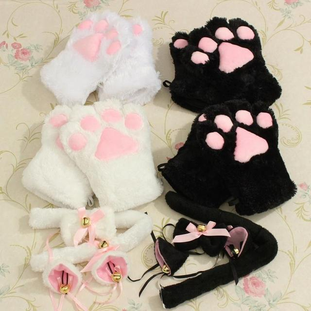 Kawaii Cute Kitten Cat Ears Neko Maid Gloves Paw Ear Tail Tie Party Plush Paw Claw Anime Cosplay Cat Ears Gloves Set