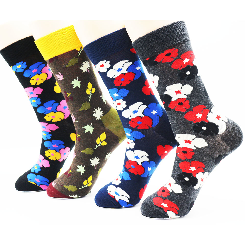 Newly designed winter fashion printed socks novelty socks high quality mens creative funky dress socks(4 pairs)