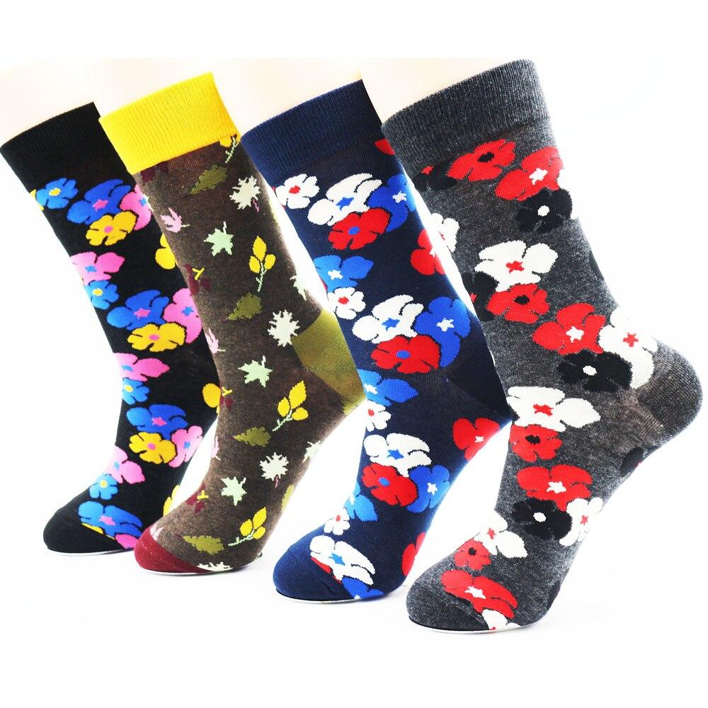 Newly Designed Winter Fashion Printed Socks Novelty Socks High Quality Mens Creative Funky Dress Socks(4 Pairs)