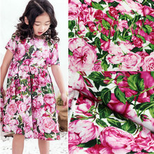 50x142cm Spring And Summer Rose Flowers Fabric Small Floral Cotton Printed Fabric DIY Dress Shirt Thin Fabric