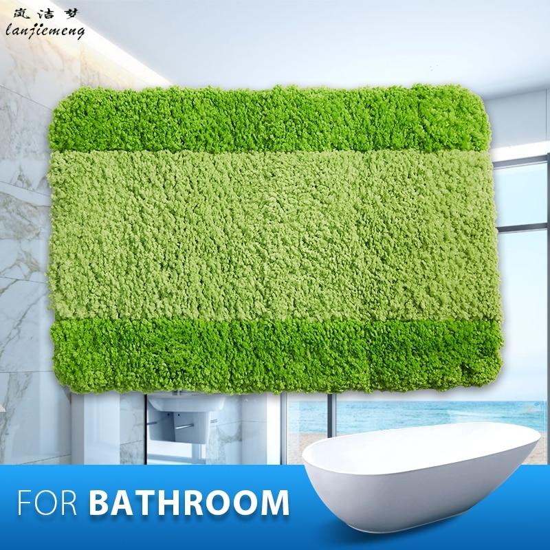 100 Polyester Anti Slid Bathroom Mats Capacho Stripe Bath Mat Solid Bathroom Floor Mats
