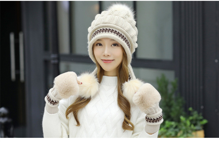 New Autumn And Winter Korean Version Of The Warm Women Hat Gloves Set Knitted Hair Ball Two Sets Of Ladies Thickening HC37 (12)