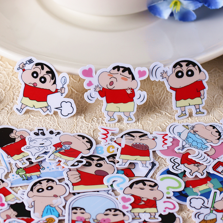 40pcs/pack Creative Kawaii Self-made Crayon Shin-chan Scrapbooking Stickers /decorative Stickers /DIY Craft Photo Album