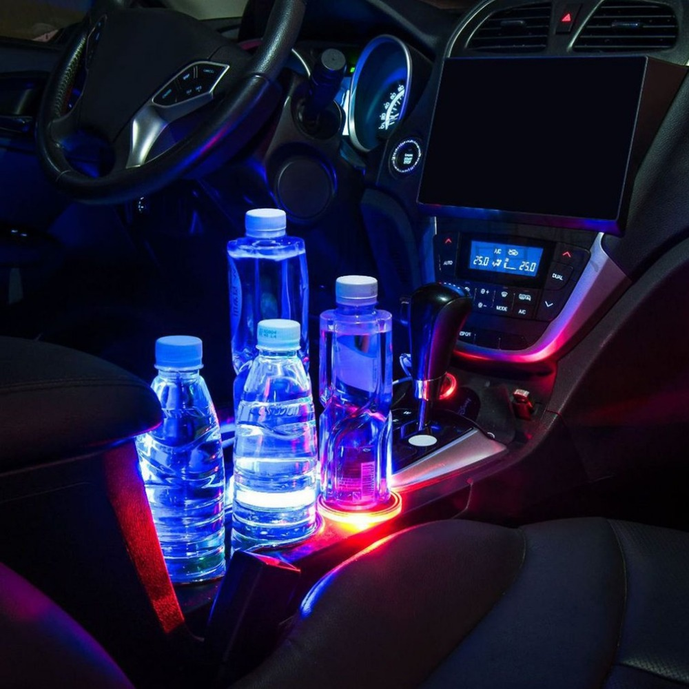 Interior Accessories Practical Car Auto Anti-slip Mat Solar Led Light Lamp Cup Holder Mat Bottle Pad Decoration Anti-slip Mat
