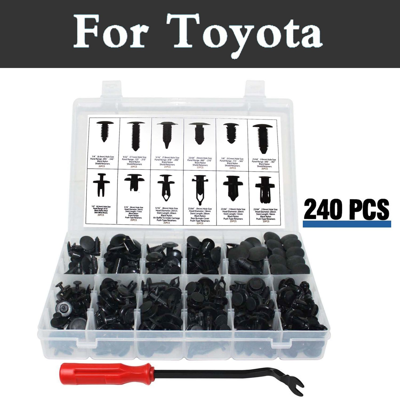 240pcs Bumper Clips Car Plastic Rivets Fasteners Push Retainer Kit Fits For Toyota Hilux Surf Iq Ist Kluger Land Cruiser Prado
