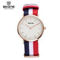 Skone Super Thin Womens Mens WatchesTop Brand Luxury Men Quartz Clock Leather Canvas Watch Man Ladies