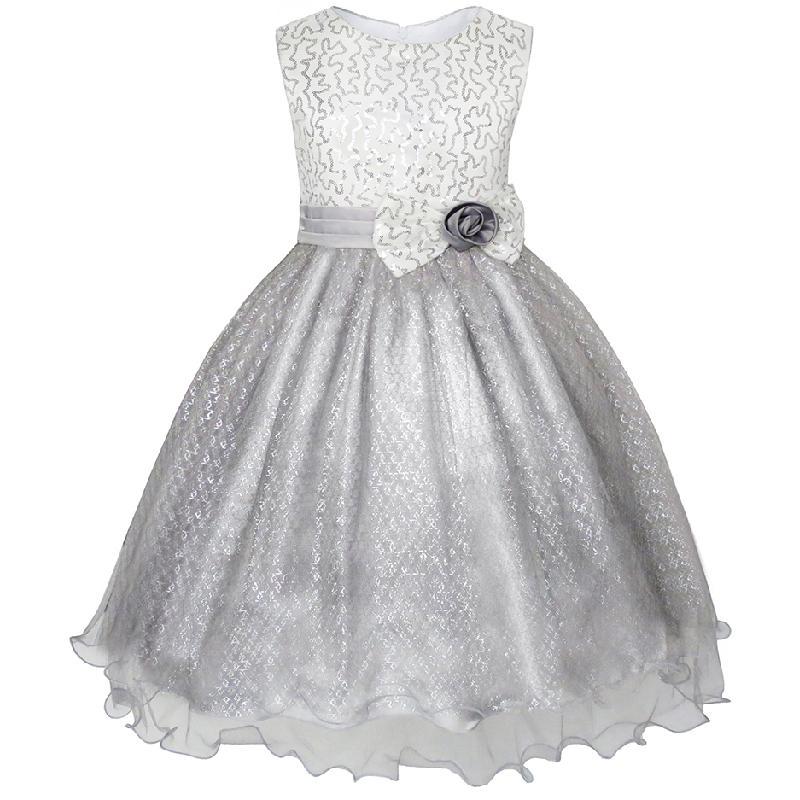 Flower Girl Dress Glitter Sequin Wedding Bridesmaid Pageant 2018 Summer Princess Party Dresses Children Clothes Size 4-14