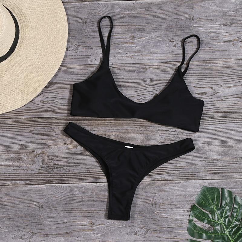 HTB1p8lYXfvi21VjSZK9q6yAEpXaT Lefeel 2019 Sexy Bikini Set Women Swimsuit Solid Bikini Backless Swimwear Low Waist Bathing Suit Female Brazilian Biquini