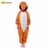 Newcosplay Children Cosplay Clothing Cartoon Fiery Dragon Pajamas Unisex Anime Cosplay Costume Kids Sleepwear Cute Jumpsuit