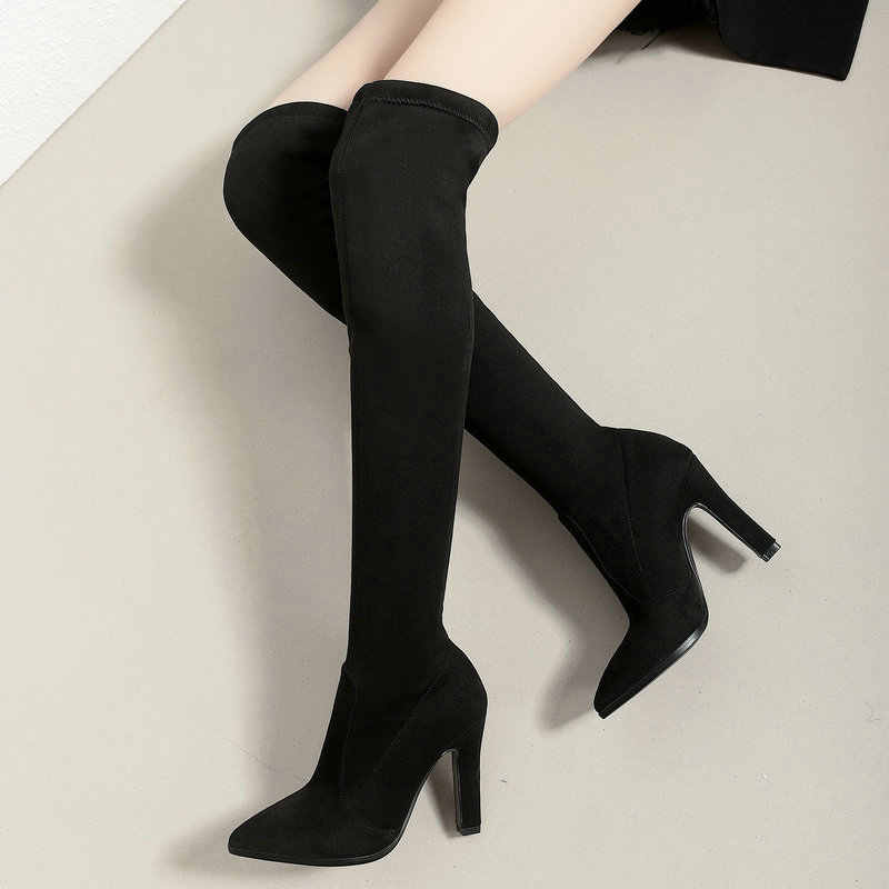 Moda blok obcas szpilki buty do uda kobiety Sexy Pointed Toe Stretch Boors panie czerwone czarne wino czerwone na buty do kolan 2020