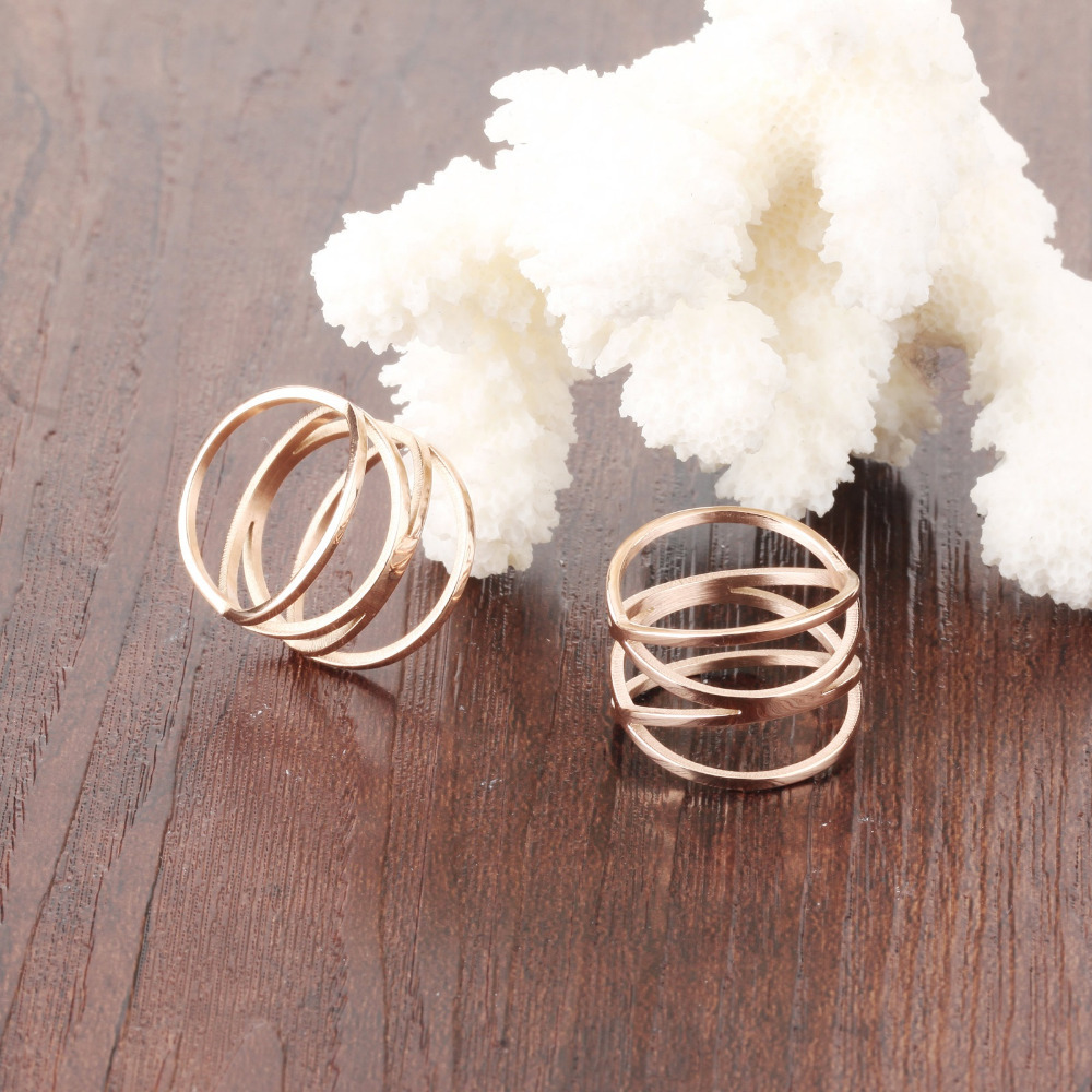 OPK Unique Shaped Woman Wedding Party Bands Classical Rose Gold