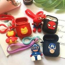 Del Fumetto Marvel Iron Man Del Bluetooth Del Silicone del Trasduttore Auricolare Per Il Caso di Apple AirPods Ultra Sottile Carino Caricatore Della Copertura di TPU Per Airpods box
