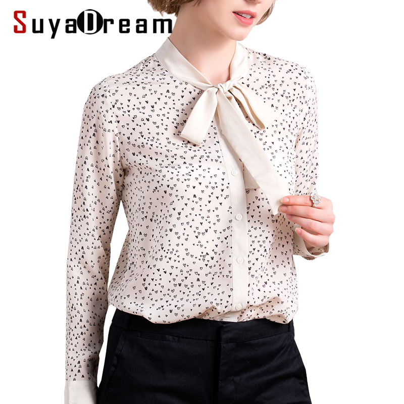Women Blouse 100%Real silk Long sleeved Heart Printed casual Blouses Bow collar 2018 Fall New Top shirt Beige
