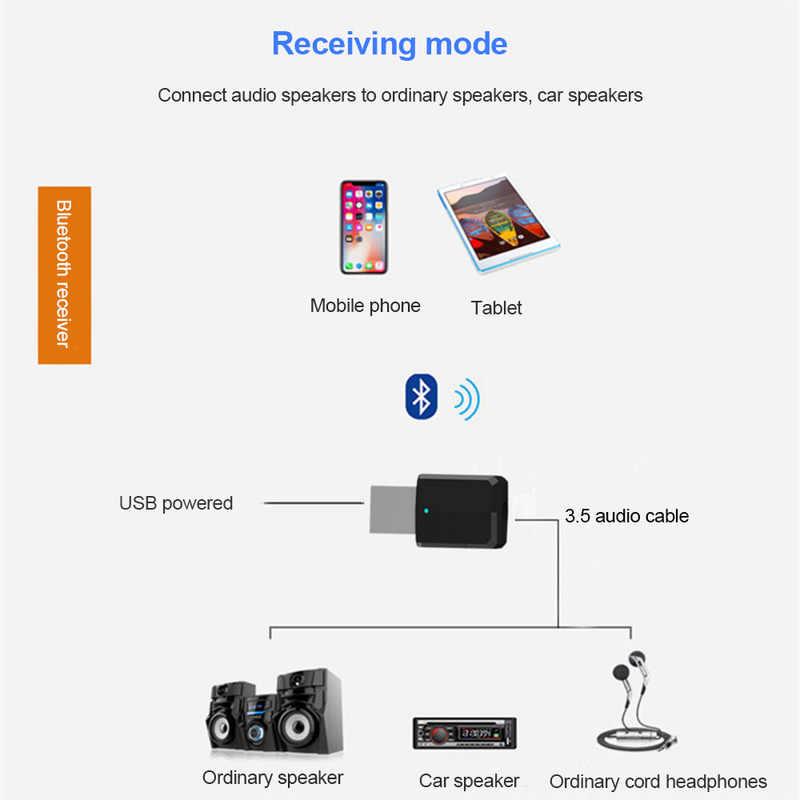 Mini 2in1 Portable Bluetooth 5.0 émetteur récepteur 3.5mm AUX USB sans fil stéréo adaptateur Audio pour la maison TV MP3/4 PC voiture